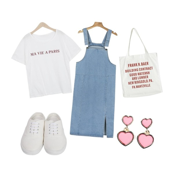 daily monday Long suspender slit one-piece,From Beginning Cotton sneakers mule_S (size : 225,230,235,240,245,250),myblin PARIS 프린팅 반팔 티등을 매치한 코디
