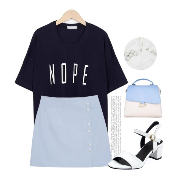 Untitled,From Beginning Nope cotton T_S (size : free),myblin 원 포켓 버튼 미니 스커트 (3color)등을 매치한 코디