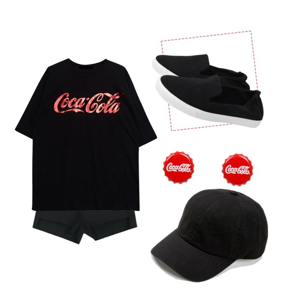 Untitled,TWEE Basic cotton cap,LOOK CHIC unbalance shorts (2 color)등을 매치한 코디