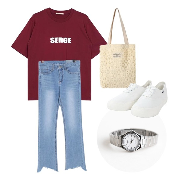 daily monday Casio Basic metal watch,UPTOWN HOLIC 프렌지 pants,biznshoe Lettering round tee (2color)등을 매치한 코디