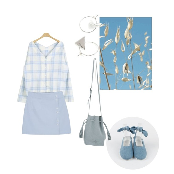 Untitled,daily monday Denim ribbon sling-back,LOOK CHIC soft v check bl (2 color)등을 매치한 코디