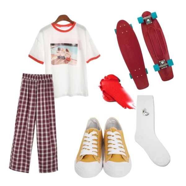 daily monday Unisex check banding pants,ROCOSIX seven tee,From Beginning Purcell cotton sneakers_M (size : 230,235,240,245,250)등을 매치한 코디