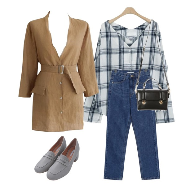 From Beginning Summer straight jean_B (size : S,M,L),common unique [OUTER] NO COLLAR LINEN BELT JAKET,LOOK CHIC soft v check bl (2 color)등을 매치한 코디