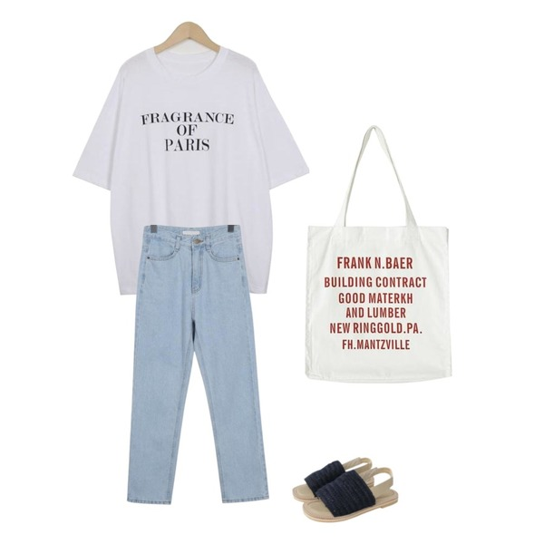 Monobabie [RS3844] 베티뉴1.5cm,From Beginning Paris lettering cotton T_H (size : free),From Beginning Summer straight jean_B (size : S,M,L)등을 매치한 코디