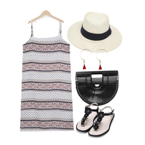 AIN daily panama hat,From Beginning Bambu silhouette bag_K(size : one),From Beginning Hippie paisley slip ops_K(size : free)등을 매치한 코디
