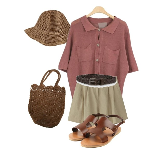 biznshoe Straw hat (2color),LOOK CHIC pocket knit shirts (4 color),BANHARU bloomer cozy shorts등을 매치한 코디