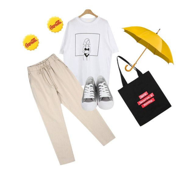 CHLO.D.MANON 린넨 밴딩 슬랙스,From Beginning Purcell cotton sneakers_M (size : 230,235,240,245,250),LOOK CHIC summer tee (2 color)등을 매치한 코디