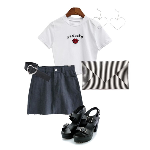 MIXXMIX Heart Leather Belt,common unique [SKIRT] A LINE LINEN CUTTING MINI SKIRT,BANHALA [기솔 PICK] 겟러키 크롭티등을 매치한 코디
