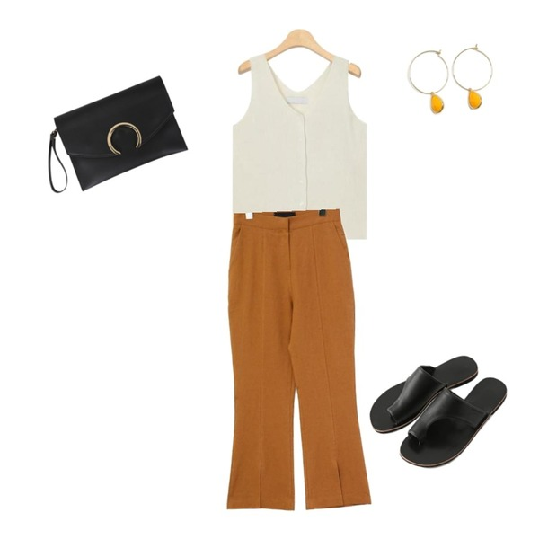 AIN pint simple button sleeveless,common unique [BOTTOM] LINEN SLIT BOOTS CUT SLACKS,Reine 멜보 플랫 슬리퍼등을 매치한 코디