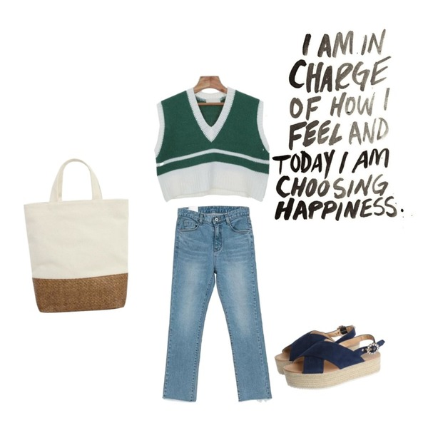 Zemma World Crop-니트조끼[size:44~66 / 2color],From Beginning Plant canvas tote bag_S (size : one),NEW NEED NOW 백컷팅 데님 팬츠등을 매치한 코디