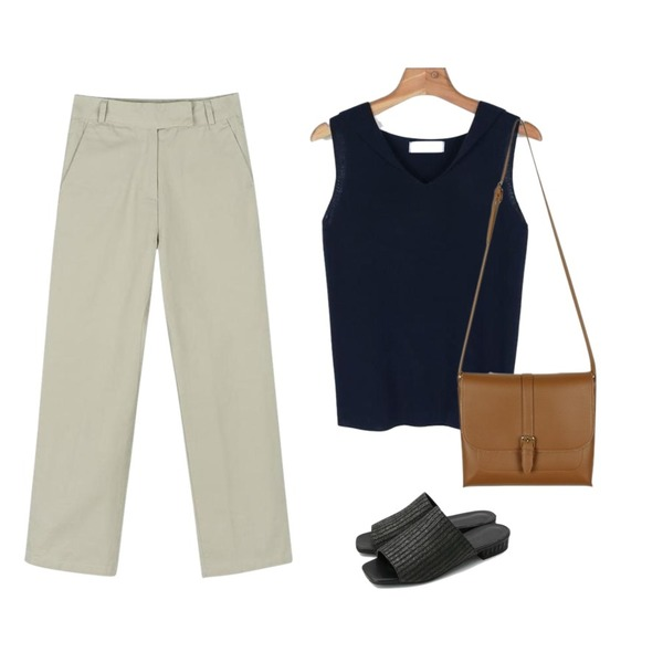 daily monday Simple basic cotton pants,daily monday Linen slippers,daily monday Small round collar knit sleeveless등을 매치한 코디