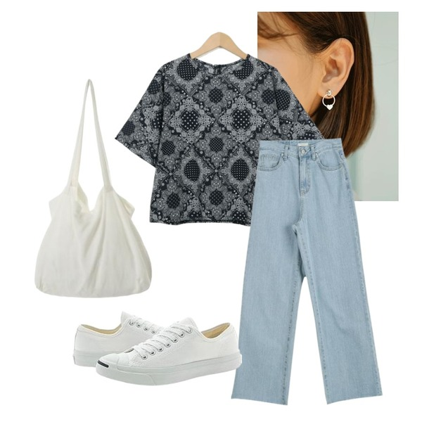 ROCOSIX heart ring earrings,From Beginning Paisley two-piece set_S (size : free),LOOK CHIC long wide denim pants등을 매치한 코디