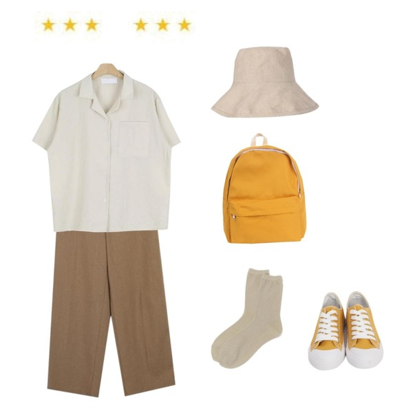 daily monday Glitter basic socks,From Beginning Lodge linen button pants_K(size : free),LOOK CHIC simple half shirts (2 color)등을 매치한 코디