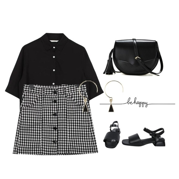 From Beginning Gingham check button skirt_K(size : S,M,L),myblin 스퀘어 버클 슬링백 샌들 (4color),biznshoe Short sleeve shirts (2color)등을 매치한 코디