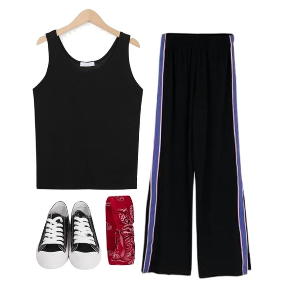MIXXMIX 배색 라인 트랙팬츠,From Beginning Purcell cotton sneakers_M (size : 230,235,240,245,250),From Beginning Fried sleeveless T_H (size : free)등을 매치한 코디