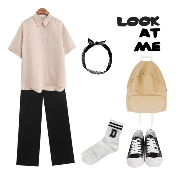 AIN FRESH A cool long slacks (s, m, l),From Beginning Purcell cotton sneakers_M (size : 230,235,240,245,250),common unique [TOP] COCO LINEN COLLAR BUTTON 1/2 SHIRTS등을 매치한 코디
