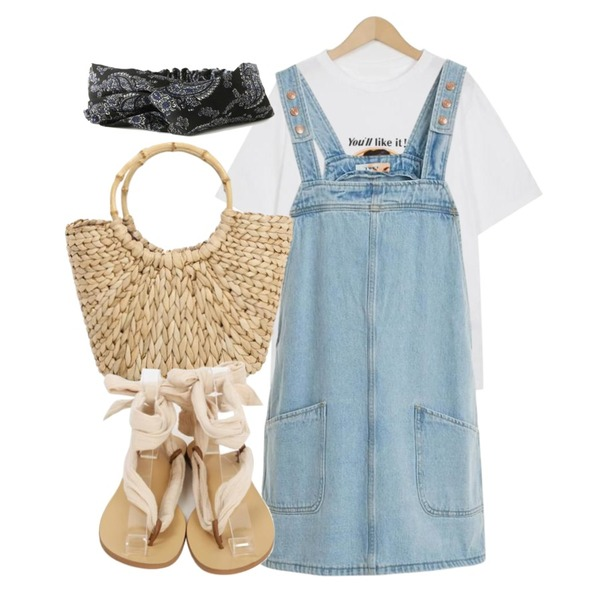 TWEE Pocket denim onepiece,From Beginning Bamboo handle bag_H (size : one),From Beginning Like it cotton T_M (size : free)등을 매치한 코디
