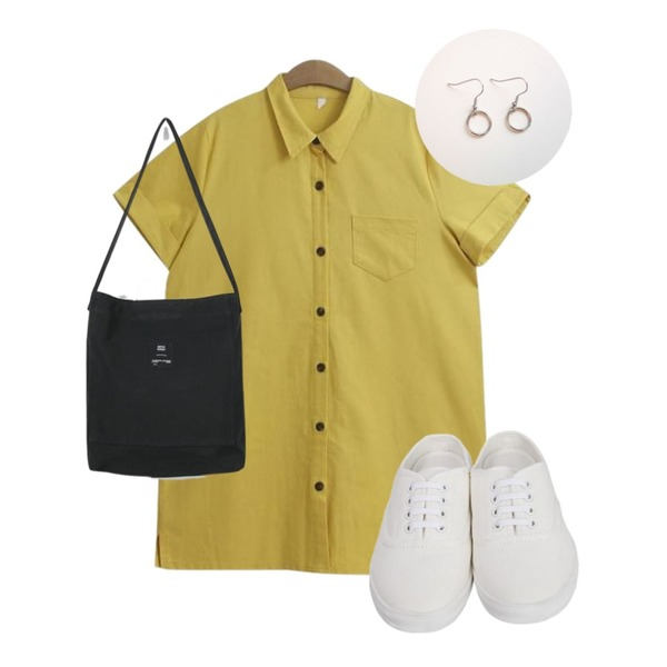 From Beginning Cotton sneakers mule_S (size : 225,230,235,240,245,250),daily monday Steel hand cotton bag,TODAY ME [dress]미뉴 원피스(린넨 반팔 오픈 카라 롤업 셔츠ops)등을 매치한 코디