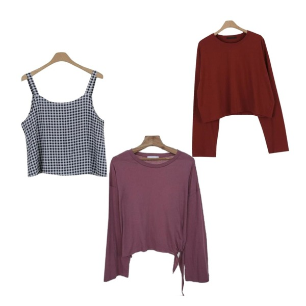 Zemma World 매듭의비밀 (t)[size:44~통통66 / 4color],LOOK CHIC summer check two piece (2 color),LOOK CHIC daily crop tee (6 color)등을 매치한 코디