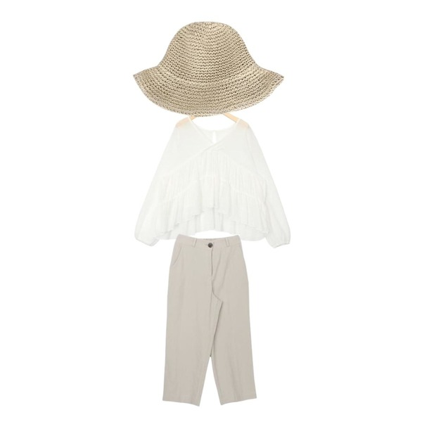 biznshoe Straw hat (2color),GARCONNE 센드로 심플린넨팬츠,AIN pure mood flare detail blouse등을 매치한 코디