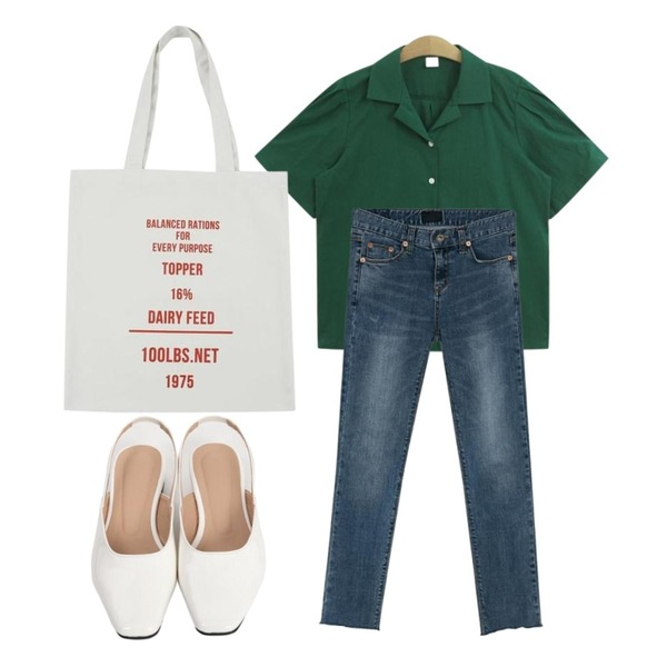 From Beginning Enamel sling-back heel_S (size : 230,235,240,245,250),BANHARU ordinary crop jean,TODAY ME [blouses]마에 블라우스(카라 퍼프 반팔 셔츠 블라우스)등을 매치한 코디