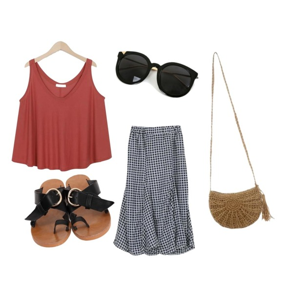 ROCOSIX reply bag,From Beginning Soft flare sleeveless T_K (size : free),LOOK CHIC summer check two piece (2 color)등을 매치한 코디