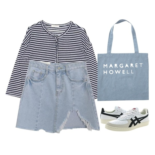 From Beginning Howell lettering eco bag_Y (size : one),AWAB 빈티지언발헤짐스커트,biznshoe Button stripe tee (2color)등을 매치한 코디