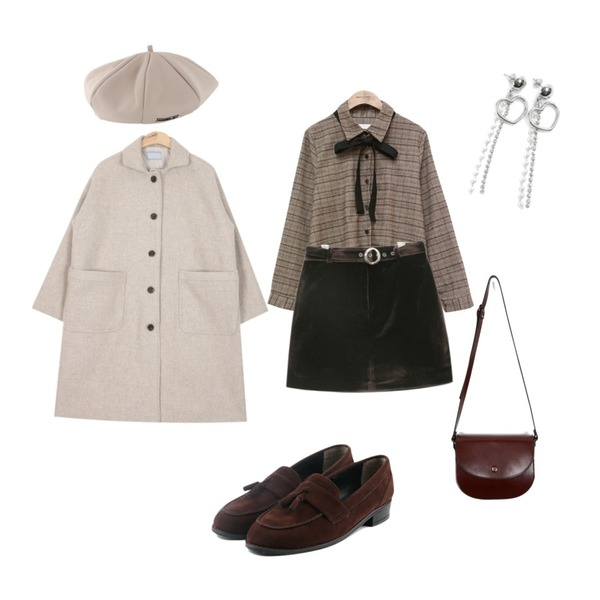 AIN casual single wool coat (3 colors),common unique [TOP] RIBBON TIE CKECK BLOUSE ,AIN velvet belt set skirt (2 colors)등을 매치한 코디