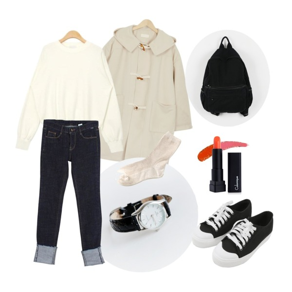 daily monday Line frame watch,From Beginning Tom boy duffle coat_B (size : free),AIN slit sleeve soft knit (4 colors)등을 매치한 코디