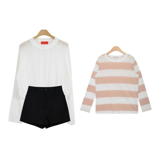 LOOK CHIC loose knit tee (3 color),myblin 헤링본 아웃포켓 숏 팬츠 (3color),AIN bold stripe wearable T등을 매치한 코디