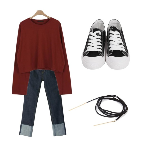 From Beginning Purcell cotton sneakers_M (size : 230,235,240,245,250),BANHARU cutting roll-up straight jean,LOOK CHIC daily crop tee (6 color)등을 매치한 코디