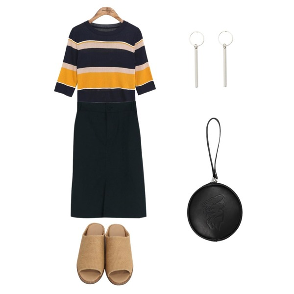 From Beginning Oriental straw slipper_H (size : 225,230,235,240,245,250),common unique [TOP] AVA STRIPE HALF SLEEVE KNIT,LOOK CHIC midi cotton skirts (2 color)등을 매치한 코디