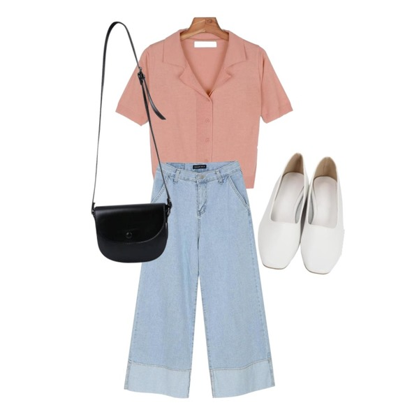 From Beginning Candy simple flat shoes_H (size : 225,230,235,240,245,250),daily monday Summer two-way knit,myblin 와이드 핏 턴업 청바지등을 매치한 코디