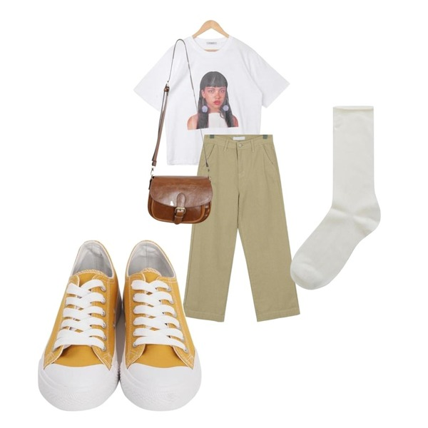 From Beginning Purcell cotton sneakers_M (size : 230,235,240,245,250),From Beginning Clear boy-fit cotton pants_M (size : S,M,L),GARCONNE 어메이징 프린팅티셔츠 + 러쉬 롱코튼스커트등을 매치한 코디