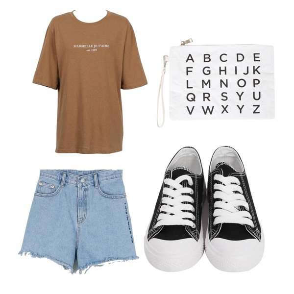 BULLANG GIRL 알파페이퍼 클러치,daily monday Lettering denim shorts,From Beginning Marseille wash cotton T_K (size : free)등을 매치한 코디