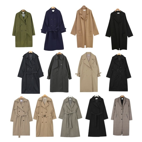 common unique [OUTER] COLLAR OPEN KINT COAT,BANHALA [수진 PICK] 메이비베이비 코트,daily monday Casual sleeve point trench coat등을 매치한 코디