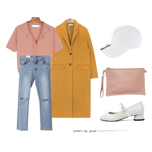 AIN long over silhouette coat (2 colors),AWAB 메잇트임일자팬츠,daily monday Summer two-way knit등을 매치한 코디