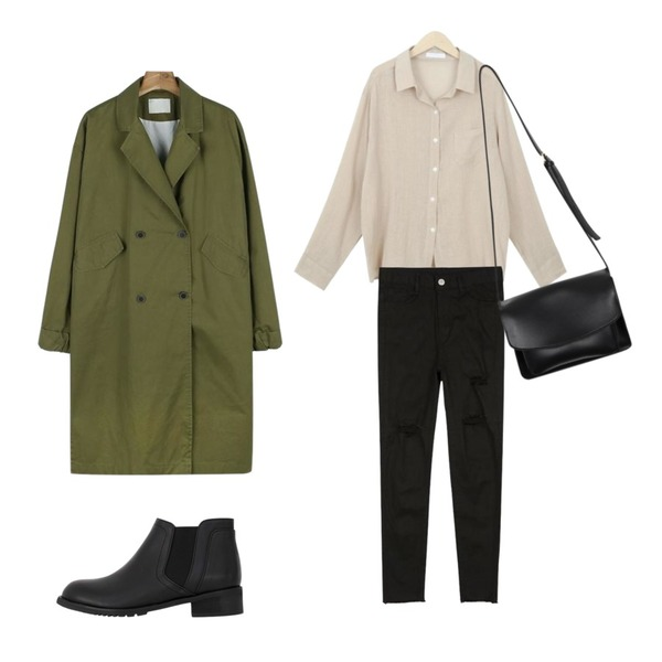 daily monday Casual sleeve point trench coat,CHLO.D.MANON 핏최고 썸머스키니,myblin 링클 린넨 셔츠 (4color)등을 매치한 코디