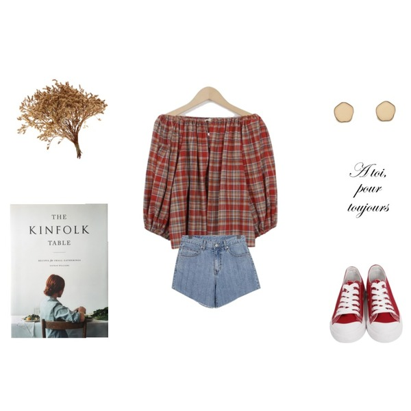 From Beginning Purcell cotton sneakers_M (size : 230,235,240,245,250),From Beginning Dollish check off blouse_H (size : free),From Beginning Stone washing cutting shorts_K (size : S,M,L)등을 매치한 코디