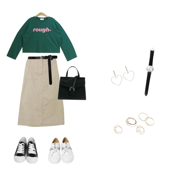 From Beginning Purcell cotton sneakers_M (size : 230,235,240,245,250),TODAY ME [tee]라오스 티(영문 프린팅 와이드 여리 캐주얼T),GARCONNE 어메이징 프린팅티셔츠 + 러쉬 롱코튼스커트등을 매치한 코디
