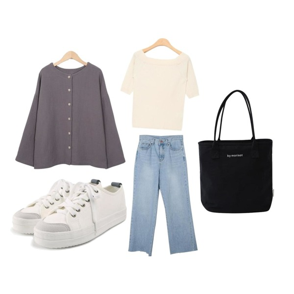 From Beginning Muse cotton reversible cardigan_S (size : free),AIN soft color feminine mood knit (5 colors),MESMIN 피노 와이드 데님 팬츠등을 매치한 코디
