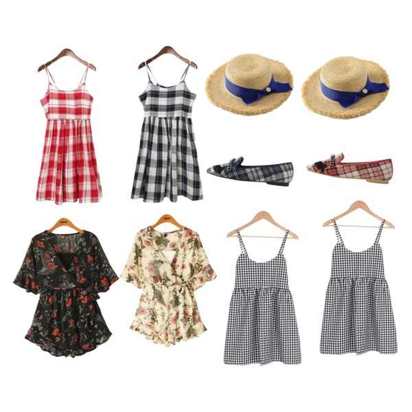 BULLANG GIRL 더빙체크뷔스티에OPS,ROCOSIX strap check sleveless dress,ROCOSIX strap check sleveless dress등을 매치한 코디