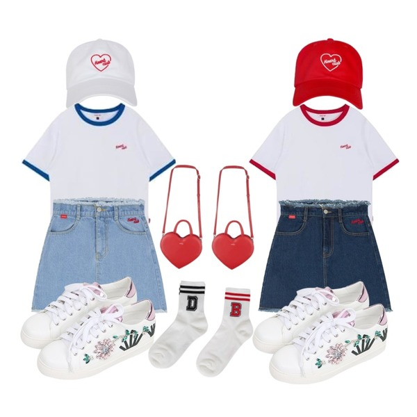 MIXXMIX Heart club 16SC heart mini bag (Red),MIXXMIX Heart club 16SC Heart simple cap(white)등을 매치한 코디