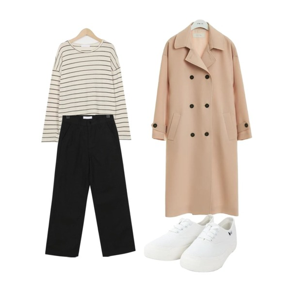 TWEE Over fit trench coat,From Beginning Fine stripe round T_K (size : free),From Beginning Clear boy-fit cotton pants_M (size : S,M,L)등을 매치한 코디