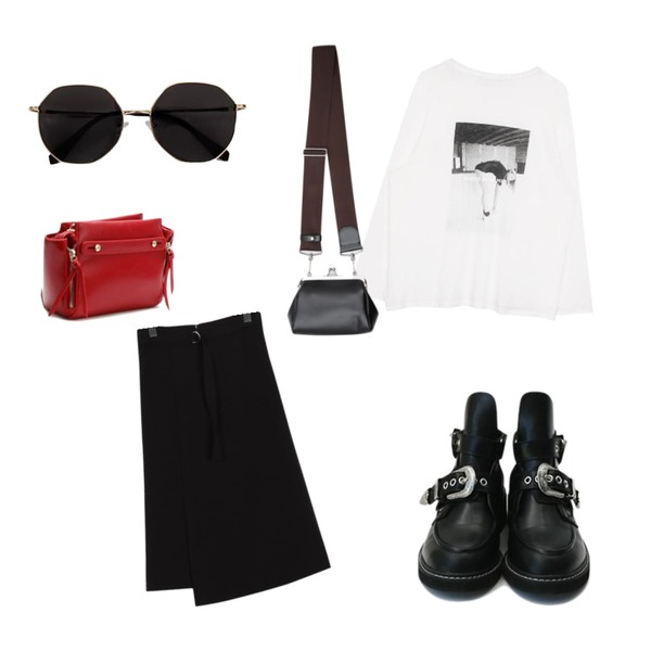 daily monday Unique buckle point walker,biznshoe Swimming tee (2color),From Beginning Ring belt classy skirt_S (size : S,M)등을 매치한 코디