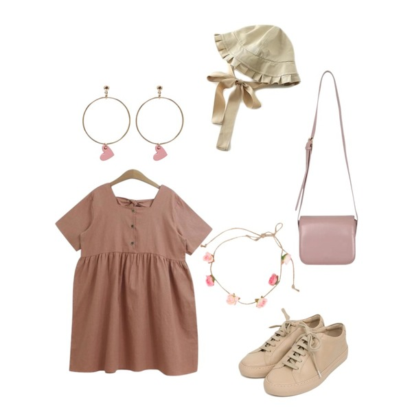 AIN simple leather sneakers (3 colors),From Beginning Figure mini round bag_H (size : free),TODAY ME [dress]마리 원피스(린넨 스퀘어 백리본 반팔ops)등을 매치한 코디