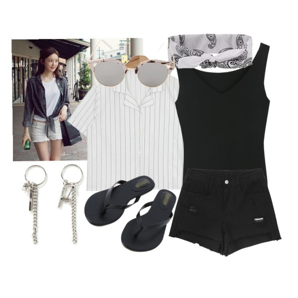 -,AIN two fabric V-neck shirt (3 colors),LOOK CHIC v-neck knit sleeveless (3 color)등을 매치한 코디