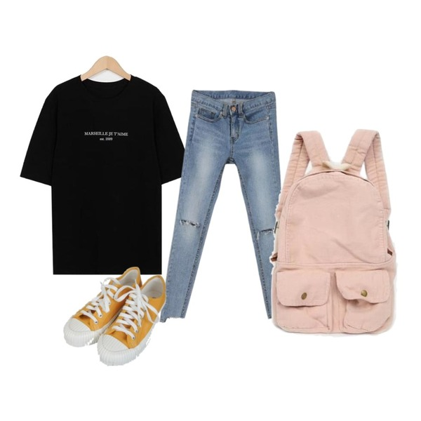 MINIBBONG 카이 절개스키니진,Zemma World Excel-스니커즈[size:225~250 / 4color],From Beginning Marseille wash cotton T_K (size : free)등을 매치한 코디