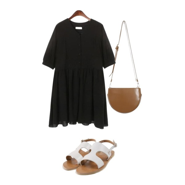 ROCOSIX amisco line sandal,From Beginning Demilune two-way back_K (size : one),ROCOSIX sweet flare mini dress등을 매치한 코디
