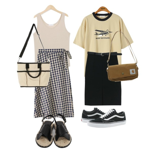 From Beginning Fried sleeveless T_H (size : free),Reine 리폰 에어플랜 티셔츠,LOOK CHIC belt set midi skirts (2 color)등을 매치한 코디